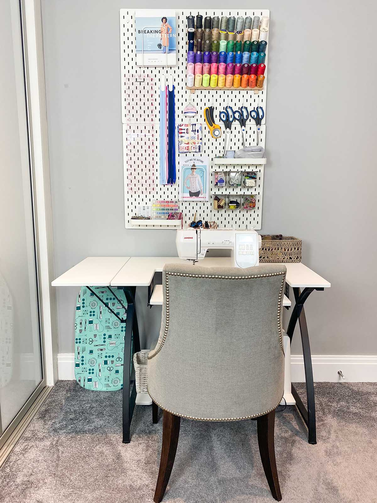 Ikea sewing room peg board ideas, sewing table and storage with a sewing machine