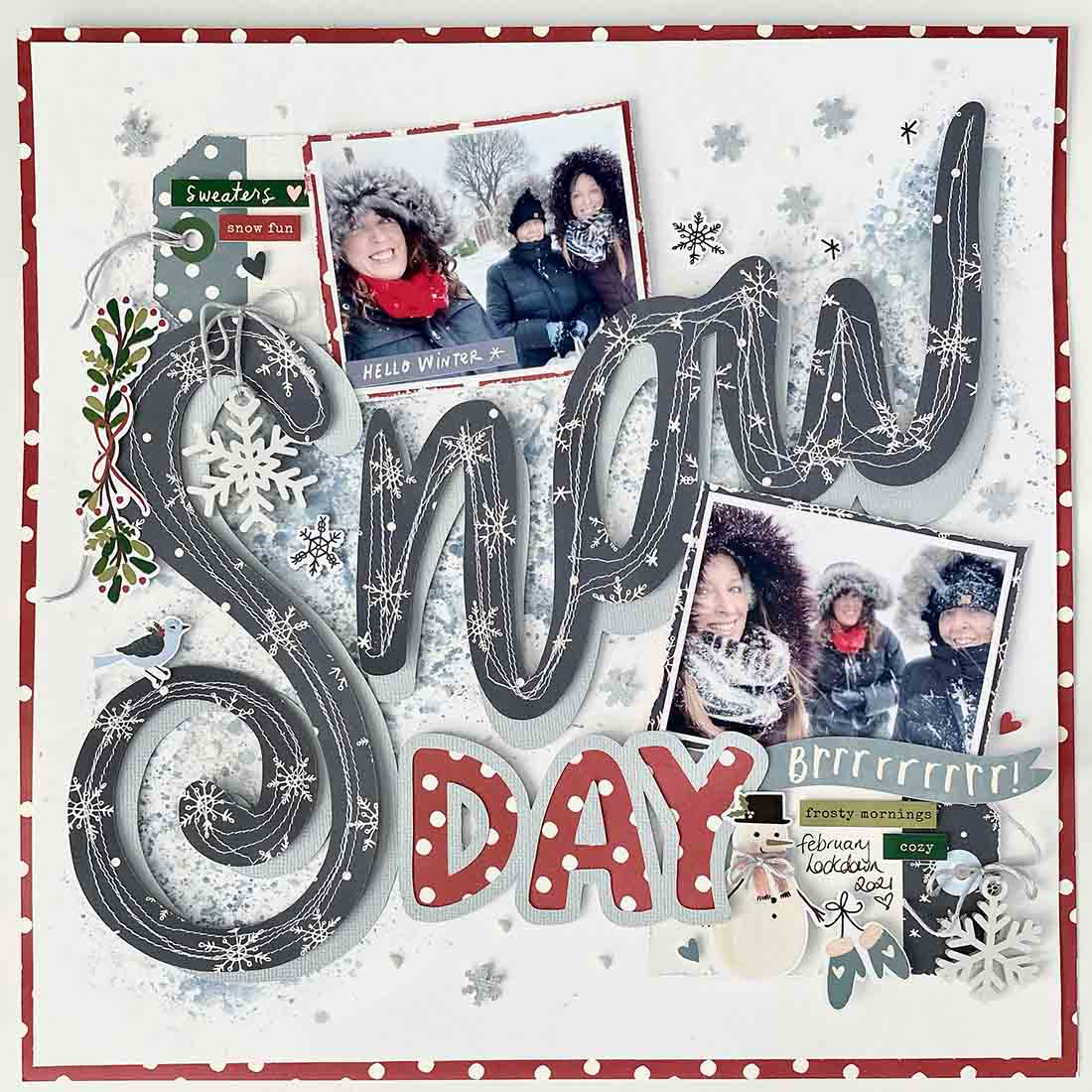 Free Snow day cut file large title for scrapbooking page