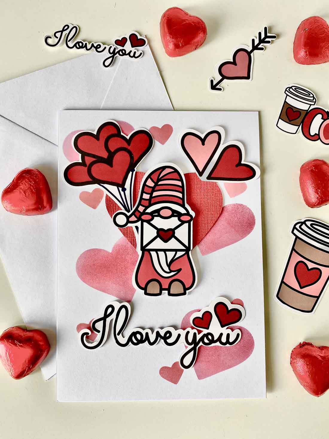 Valentines day quick and easy card with free printable