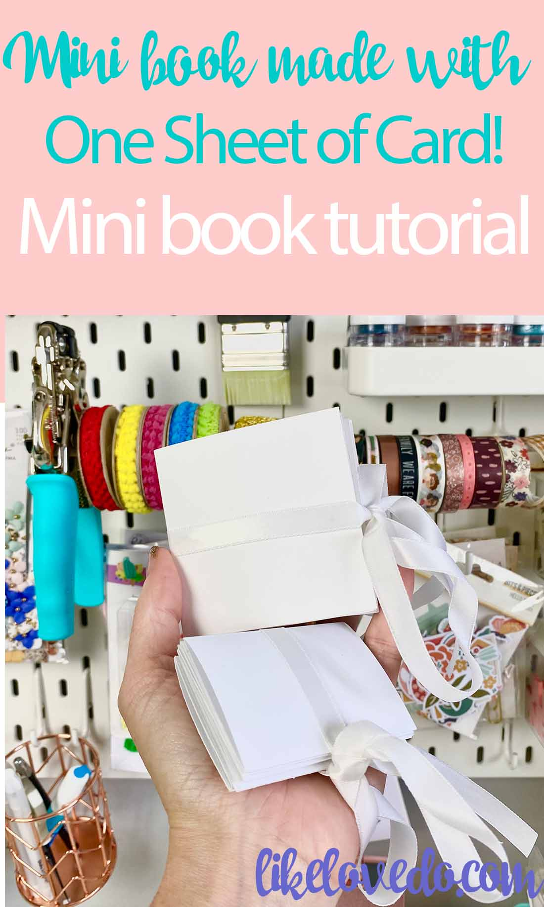 One page mini book tutorial made from one sheet of card A4 and 12 x12